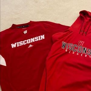 WISCONSIN sweatshirts TWO fleece red M and L